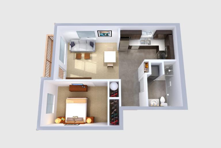 -Unit A 1  BED/1 BATH 623 Sq.ft.Sq.ft.