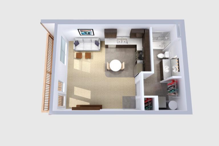 -Unit D Studio /1 BATH 520 Sq.ft.Sq.ft.