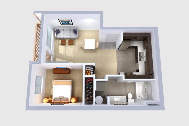 -Unit E 1  BED/1 BATH 619 Sq.ft.Sq.ft.